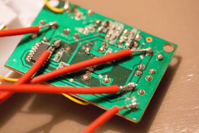 Wires soldered on the circuit