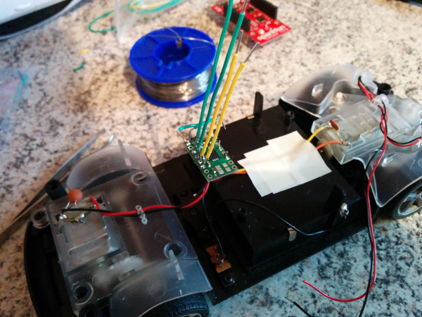 Motor driver connected with the car's DC motors