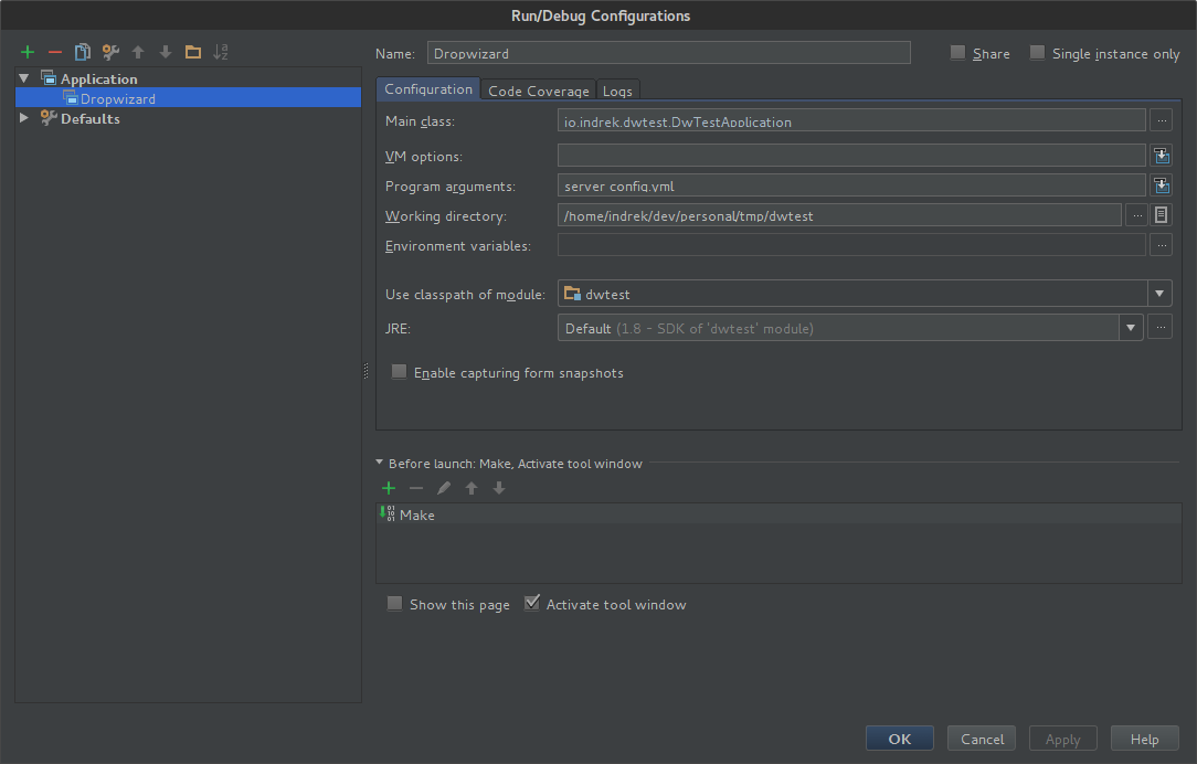 IntelliJ IDEA run configuration menu