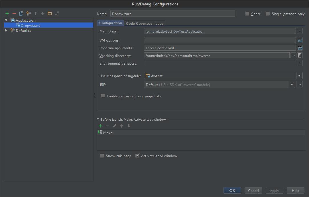 IntelliJ IDEA run configuration menu